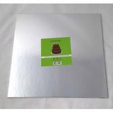 Cake Board Square - Silver Foil 12