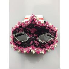 Lace Mask W/Flower Pink