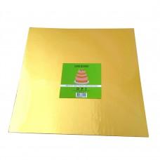 """Cake Board Square - Gold Foil 14""""  4mm"""