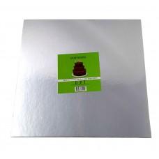 """Cake Board Square - Silver Foil 12"""" 4mm"""