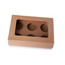 6 hole cupcake box kraft